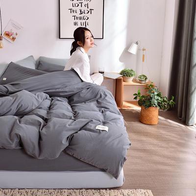 2019新款-水洗棉简约纯色四件套 三件套1.2m(4英尺)床 深灰+卡其