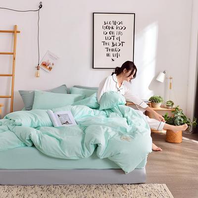2019新款-水洗棉简约纯色四件套 三件套1.2m(4英尺)床 水绿