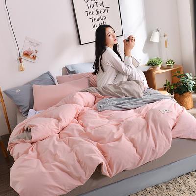 2019新款-水洗棉简约纯色四件套 三件套1.2m(4英尺)床 玉粉+卡其