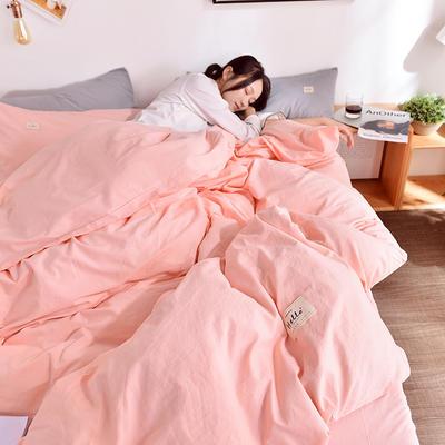 2019新款-水洗棉简约纯色四件套 三件套1.2m(4英尺)床 玉粉+浅灰