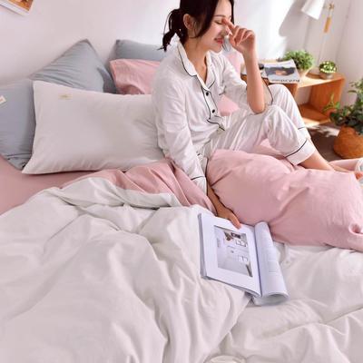 2019新款-水洗棉简约纯色四件套 三件套1.2m(4英尺)床 白十藕粉