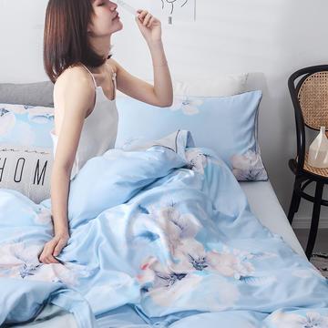 2019新款天丝莫代尔嵌条工艺款四件套 1.5m(5英尺)床 花魅-蓝