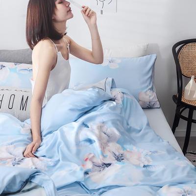 2019新款天丝莫代尔四件套 1.8米床(床笠款) 花魅-蓝