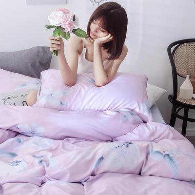 2019新款天丝莫代尔四件套 1.8米床(床笠款) 花魅-玉