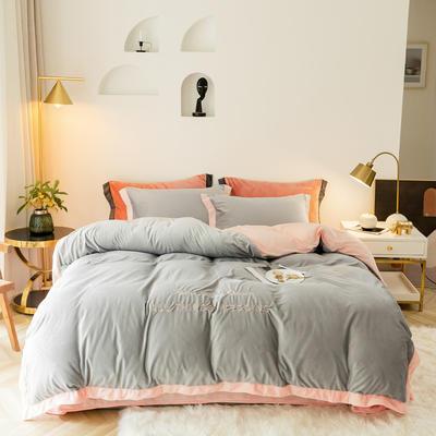 2019新款-水晶绒刺绣四件套 床单款四件套1.5m(5英尺)床 典雅灰粉