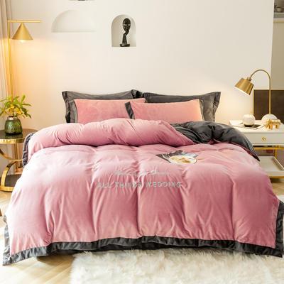 2019新款-水晶绒刺绣四件套 床单款四件套1.5m(5英尺)床 豆沙红灰