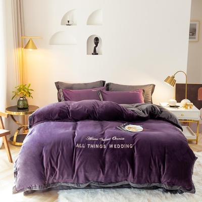 2019新款-水晶绒刺绣四件套 床单款四件套1.5m(5英尺)床 高级紫灰