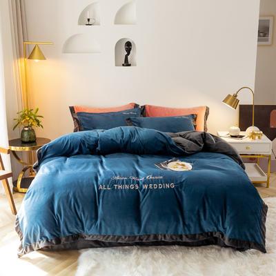2019新款-水晶绒刺绣四件套 床单款四件套1.5m(5英尺)床 绅士蓝灰