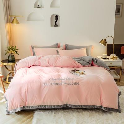 2019新款-水晶绒刺绣四件套 床单款四件套1.5m(5英尺)床 甜爱粉灰
