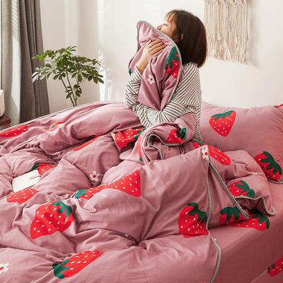 2019新款-风牛奶绒四件套 床单款三件套1.2m床 草莓甜心