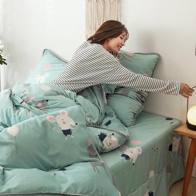 2019新款-风牛奶绒四件套 床单款三件套1.2m床 告白气球
