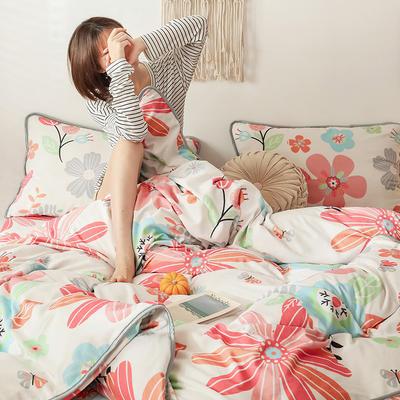 2019新款-风牛奶绒四件套 床单款四件套1.5m床-1.8m床 花开半夏