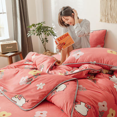 2019新款-风牛奶绒四件套 床单款三件套1.2m床 花小鹅
