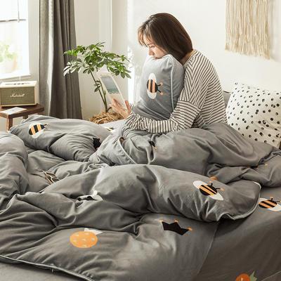 2019新款-风牛奶绒四件套 床单款三件套1.2m床 回忆