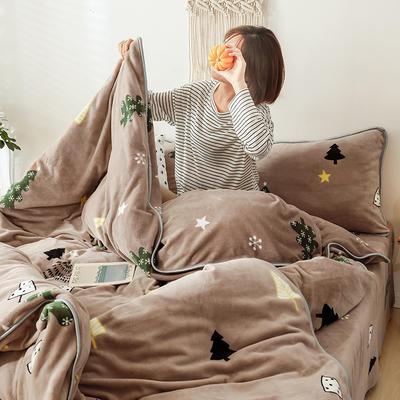 2019新款-风牛奶绒四件套 床单款四件套1.5m床-1.8m床 圣诞树