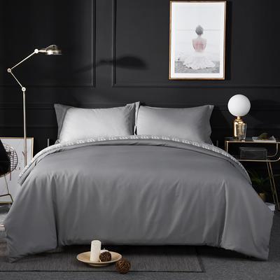 2018新款贡缎棉纯色四件套 1.8m(6英尺)床 灰色