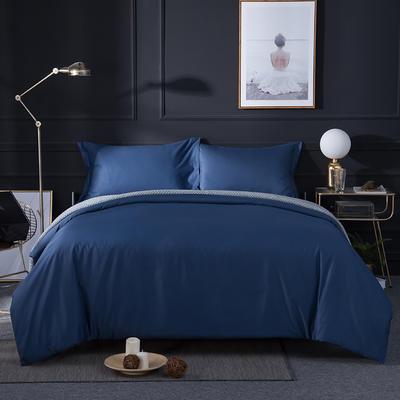 2018新款贡缎棉纯色四件套 1.8m(6英尺)床 深蓝