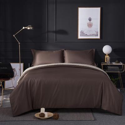 2018新款贡缎棉纯色四件套 1.8m(6英尺)床 棕色