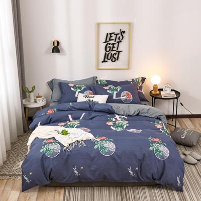 2018新款针织棉四件套 标准1.5m-1.8m床 花语  蓝