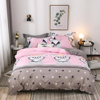 2018新款针织棉四件套 1.2m(4英尺)床 兔小姐 粉