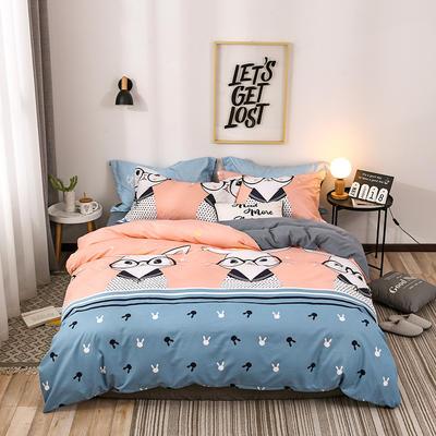 2018新款针织棉四件套 1.2m(4英尺)床 兔小姐 桔