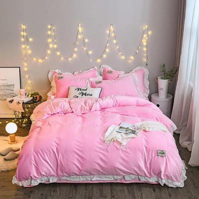 2018新款双面加厚水晶绒四件套 1.8m(6英尺)床 粉红色
