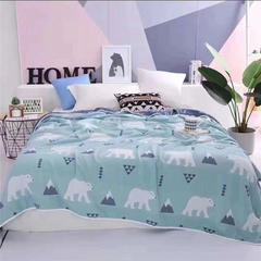 吖噢 六层纯棉提花成人毛巾被 包边盖毯床盖全棉空调被夏被 200*230 北极熊