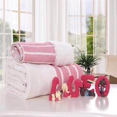 2018新款条纹毛巾浴巾 条纹粉色毛巾(35*75)