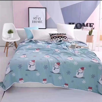 2019新款六層純棉提花成人毛巾被 包邊蓋毯床蓋全棉空調被夏被 150x200cm 冬季雪人