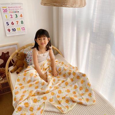 2020新款六层包边童被浴巾 110*110cm 香橙
