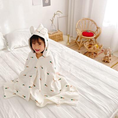 2020年春夏新品儿童披肩浴袍(70*140) 胡萝卜四层