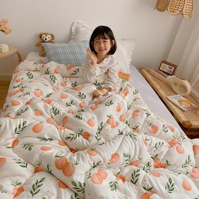 2020新款冬被A类双层纱棉花被子被芯 120x150cm3.8斤 橘子