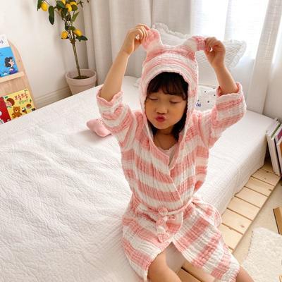 2020新款日式条纹浴袍 65厘米   2-4周岁 粉色浴袍