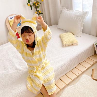 2020新款日式条纹浴袍 65厘米   2-4周岁 黄色浴袍
