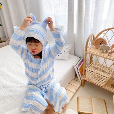 2020新款日式条纹浴袍 65厘米   2-4周岁 蓝色浴袍