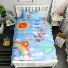 2018新款全棉三件套 1.2m(4英尺)床(直角床单) 彩虹猫咪