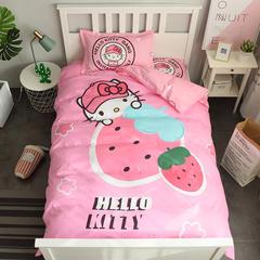2018新款全棉三件套 1.2m(4英尺)床(直角床单) 草莓KT