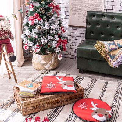 2018新款圣诞坐垫 40cm/一只不含包装 红麋鹿-方形