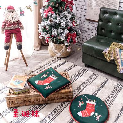 2018新款圣诞坐垫 40cm/一只不含包装 圣诞袜-方形