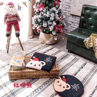 2018新款圣诞坐垫 40cm/一只不含包装 红帽熊-方形
