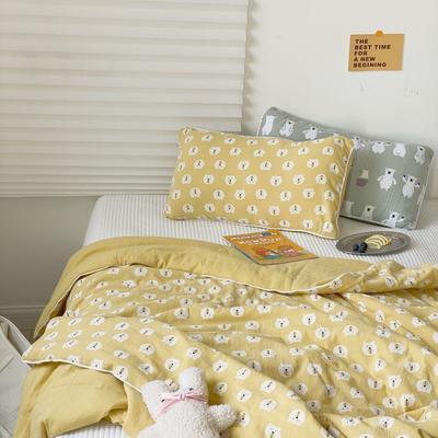 2020新款儿童婴儿A类有氧透气纱布棉夏被 140*200cm 柠檬熊