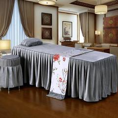 皇侨家纺 新品 美容床罩四件套 单床罩超柔水晶绒高档按摩理疗养生会所单人床上用品 方头180*60(单床罩) 水晶绒-灰