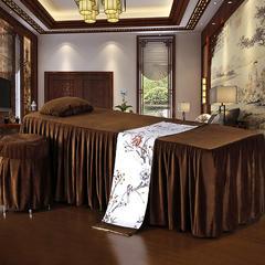 皇侨家纺 新品 美容床罩四件套 单床罩超柔水晶绒高档按摩理疗养生会所单人床上用品 方头180*60(单床罩) 水晶绒-咖