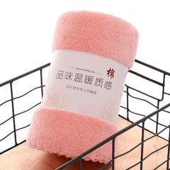 2018新款-纪川珊瑚绒浴巾(70*140)毛巾(35*75) 浅粉毛巾