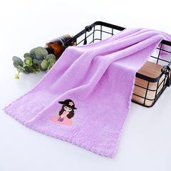 2018新款花边高密珊瑚暖绒童巾 25×50cm 紫色