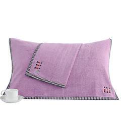2018新款经典格枕巾 52*78cm 粉紫色/对