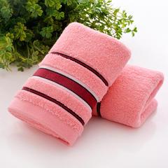 无捻彩条毛巾34*75cm 深粉色