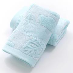 2018新款竹纤维树叶毛巾 蓝色34X75cm
