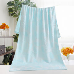 2018新款竹纤维树叶浴巾 蓝色70x140cm