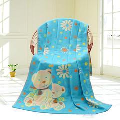 2018新款三层纱布浴巾 70*140cm 蓝色大熊